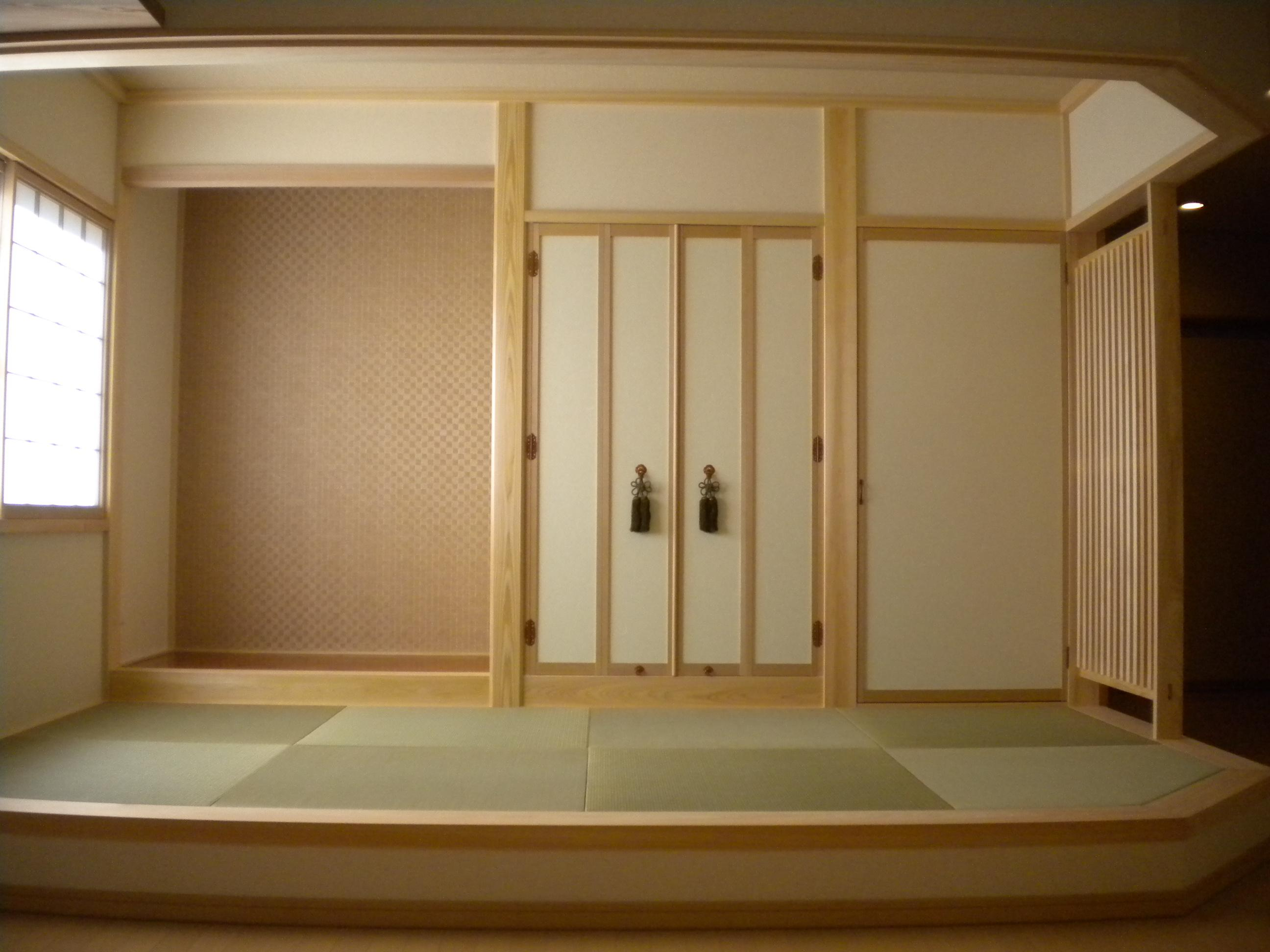 和室はあえてリビング続きで開放的に